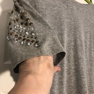 Grey embellished crew neck t shirt top shop U.K.
